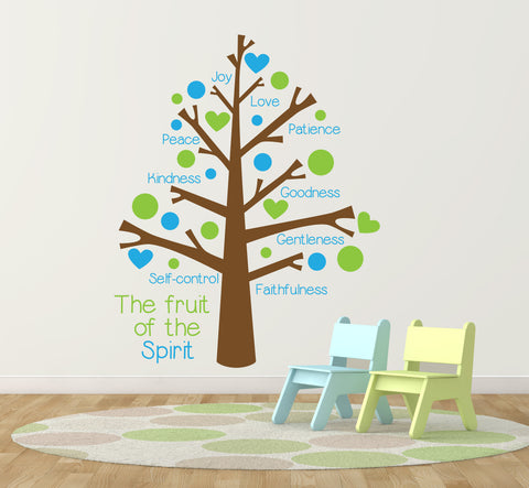 Fruit of the Spirit Vinyl Wall Decal Sticker Tree, Baby Nursery Tree Wall Decorations, Sunday School Church Classroom Decor, Thank You Gift - lasting-expressions-vinyl