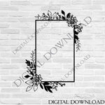 Flower Border SVG, Cricut Border Stencil Artwork, DXF Laser Cutting, Hand Drawn Vector Clipart, Flower Clip Art Design, Border Design Png - lasting-expressions-vinyl