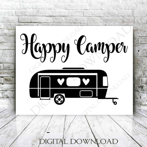 SVG Quote Clipart Happy Camper Vector Download- Vinyl Silhouette, jpg png svg pdf, Camping Quote for Shirt, Camping Typography Sign - lasting-expressions-vinyl