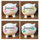 "Piggy Bank Custom Baby Hand print 8""- Nursery Decor, Grandchildren, Large Ceramic Piggy Bank, First Birthday Custom Gift, Personalized Gifts - lasting-expressions-vinyl"