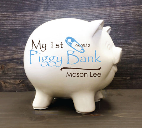 Personalized Piggy Bank for Baby Gift, Name on Ceramic Piggy Bank for Baby, Jumbo Ceramic Piggy Bank, Gift from Godparents for Newborn - lasting-expressions-vinyl