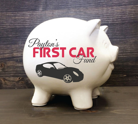 Ceramic Piggy Bank with Name- First Car Fund Bank - lasting-expressions-vinyl