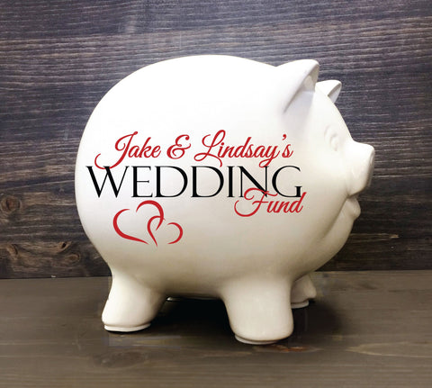 Ceramic Coin Piggy Bank Wedding Fund, Unique Bridal Shower Gift - lasting-expressions-vinyl