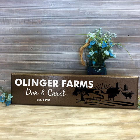 Wood Wall Sign Family Farm Personalized with Last Name - lasting-expressions-vinyl