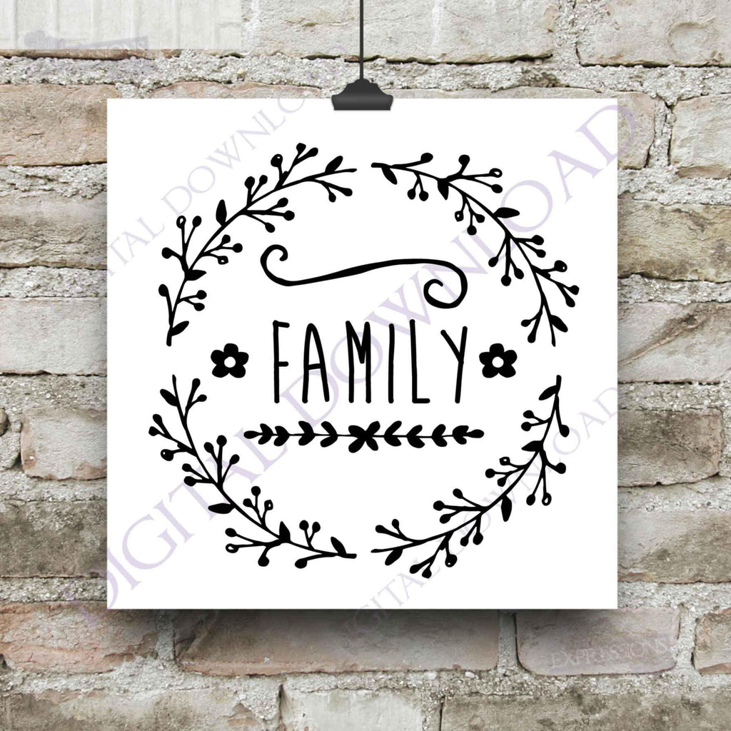 Family Quote Printable Design Svg Craft Vinyl Designs Handdrawn Wrea Lasting Expressions