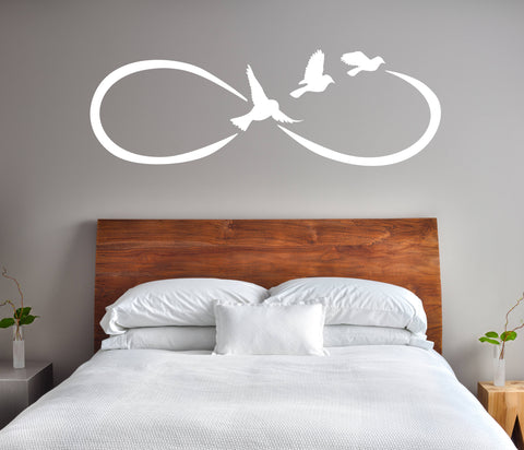 Large Wall Art Sticker, Infinity Symbol Wall Sign, Bedroom Vinyl Wall Decal, Bird Wall Decor, Girls Bedroom Wall Decor, Vinyl Wall Lettering - lasting-expressions-vinyl