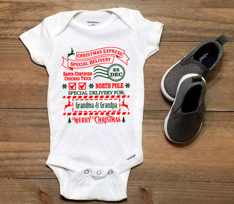 Baby's First Christmas Outfit, Santa Mail Christmas Present, Infant Bodysuit, Grandparents Pregnancy Announcement, Baby Christmas Shirt - lasting-expressions-vinyl