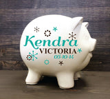 Confetti Personalized Piggy Bank with Vinyl Decal - Girls Piggy Bank, Newborn Gift, Custom Piggy Bank, Large Piggy Bank, Girls Birthday - lasting-expressions-vinyl