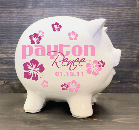 Piggy Bank Baby Girl Custom Gift, Flower Nursery Name Sign, Baptism Gift for God daughter, Personalized Children's Birthday Gift, Baby Gift - lasting-expressions-vinyl