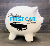 "Kids White Ceramic Piggy Bank with Name, First Car Fund Bank, First Birthday Gift for Baby Boy, 16th Birthday Gift Son, Personalized Gift 5"" - lasting-expressions-vinyl"