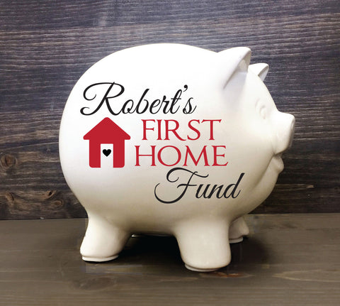 "Housewarming Home 5.5"" Personalized Piggy Bank First Home Fund Wedding Gift for couple bank, Saving Up Bank, Our First Home, Gift for couple - lasting-expressions-vinyl"