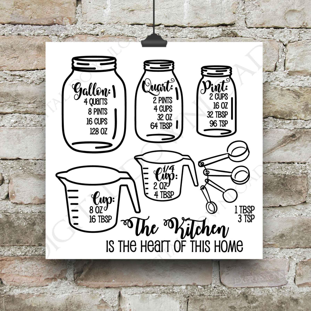 Free Mason jar day celebrates the invention of the mason jar and its versatility in homes everywhere. Mason Jar Kitchen Measurement Cheatsheet Svg Vector Clipart Typograp Lasting Expressions SVG, PNG, EPS, DXF File