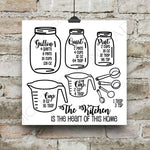 Mason Jar Kitchen Measurement Cheatsheet, SVG Vector Clipart, Typography Quote, Print Saying, Cooking Gift for Mom, Conversion Chart - lasting-expressions-vinyl
