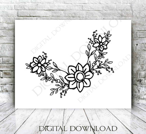 Floral Arrangement Border Hand drawn Clipart, Vector Watercolor Flowers Outlines, SVG Clipart Flower Design, Silhouette Stencil, Artwork - lasting-expressions-vinyl