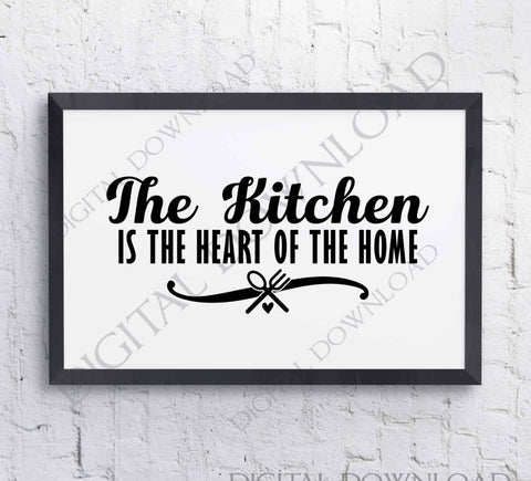 Kitchen heart of the home SVG Vector Clipart - Vinyl Saying, svg ai pdf, DIY Decor, Typography Quote Print Saying, Kitchen Sign, Mom Cooking - lasting-expressions-vinyl