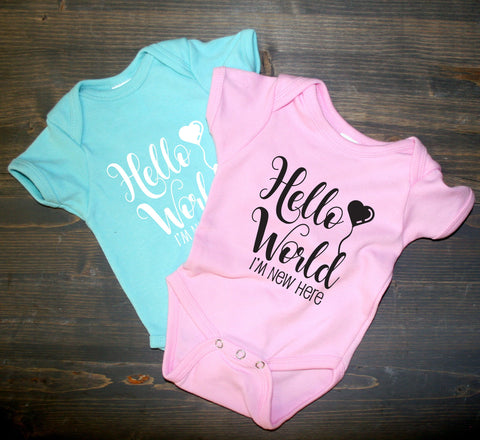 Baby One Piece Shirt Hello World I'm new here, Infant Bodysuit Newborn, Cute Baby Outfit, Baby Shower Gift, Custom Shirts, Personalized Gift - lasting-expressions-vinyl