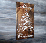 Horse Christmas Tree Merry Christmas Wood Sign, Rustic Home Decor, Holiday Decor, Birthday Gift for Her, Wood Horse Sign, Christmas Gifts - lasting-expressions-vinyl