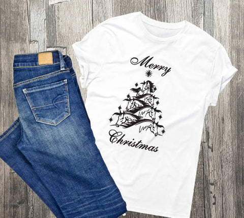 Horse Christmas Tree Shirt, Custom Shirts, Holiday Gift for Her, Horse Quote, Holiday Gifts for Family, Horse Theme Clothing, Arabian Horse - lasting-expressions-vinyl
