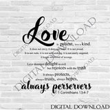 Love SVG Clipart Saying Vector, Love is patient quote Wedding Decor, Typography Art Wall Print, bible verse, corinthians 13, gift for her - lasting-expressions-vinyl