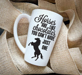 Horse Coffee Mug Quote, Chocolate Saying Mug, Mother's Day Gift, Custom Coffee Mug Saying, Birthday Gift for Her, White Ceramic Latte Mug - lasting-expressions-vinyl