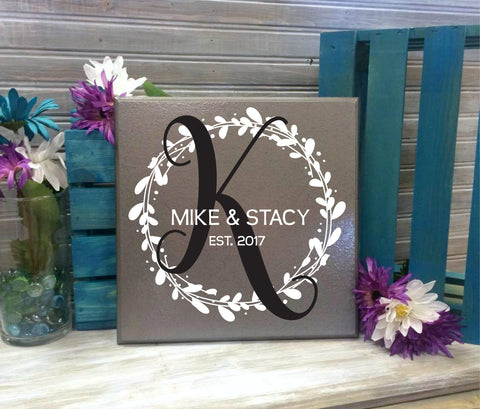 Monogram Sign, Custom Last Name Sign, Personalized Gifts, Wood Home decor, Wreathe Design, Anniversary Gift for Couple, Wedding Centerpiece - lasting-expressions-vinyl