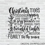 Merry Christmas Words, Holiday Stencil Clipart, SVG Clipart Quotes, Holiday Home Decor, Typography Print, Cricut Silhouette File to download - lasting-expressions-vinyl
