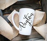 Personalized name mug, Large Ceramic Coffee Cup, Gift for Friend, Custom Monogram Glass Set, Bridesmaid Gift for Girlfriend, Latte Funnel - lasting-expressions-vinyl