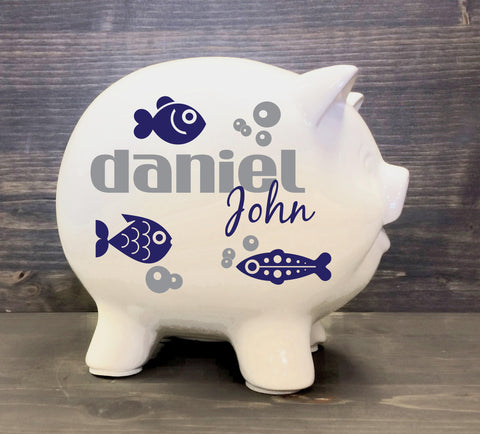 Name Piggy Bank with Vinyl Decal, Personalized Kids Birthday, Ocean Baby Room, Gift for Newborn, Birth Information Bank, White Ceramic - lasting-expressions-vinyl