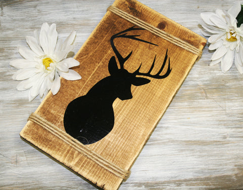 Wood Deer Sign - lasting-expressions-vinyl