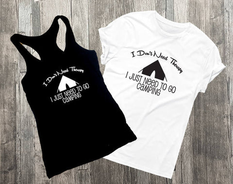 Therapy Saying, Camping Shirt, Saying on shirt, Tank top, Womens Outfit, Black VNeck Men's Shirt, Funny Graphic Tee, Summer Outfit, Tank Top - lasting-expressions-vinyl