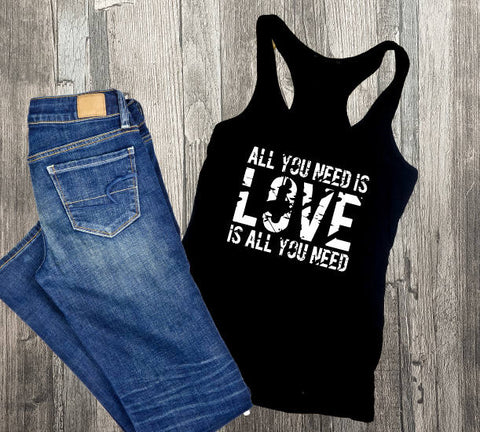 All you need is love boho Shirt, Custom Shirts, Design Tank top, Aztec Print, Birthday Gift for Her, Valentines day gift, Love graphic tee - lasting-expressions-vinyl