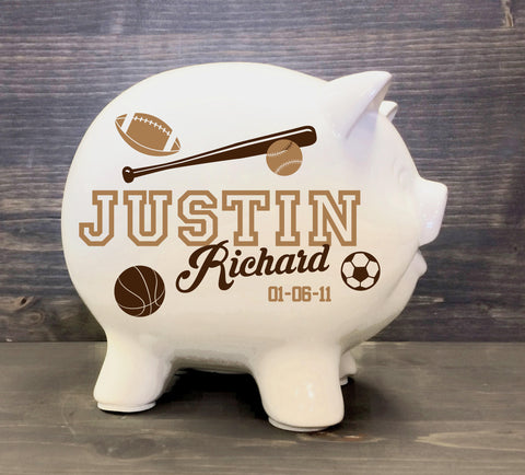 Piggy Bank White Ceramic Sports theme with Name, Boys Sports Nursery Custom Name Decor, First Birthday Gift Nephew, Baby Boy Baby Shower - lasting-expressions-vinyl