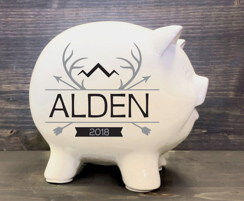 Baby Gift Personalized Piggy Bank, Forrest Animal Woodland Nursery - lasting-expressions-vinyl