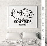 SVG Vector Quote Stencil, Clipart Saying for Die Cut, Digital Design Vector Artwork, Adventure Awaits Saying Bedroom Wall Art Print Sign - lasting-expressions-vinyl