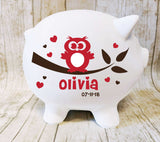 Ceramic Owl Piggy Bank with Name, Baby Girls Owl Nursery Decor - lasting-expressions-vinyl