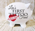 First Tattoo Piggy Bank for Kids, Personalized Children's Birthday Gift from Uncle, Unique Custom Gifts, Piggy Bank Name, 18th Birthday Gift - lasting-expressions-vinyl