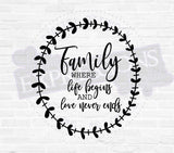 Family Printable SVG Vector Quote, Die-Cut Saying, Printable Vector Artwork, Family Love Sign Quote, Silhouette Stencil Design for Craft - lasting-expressions-vinyl