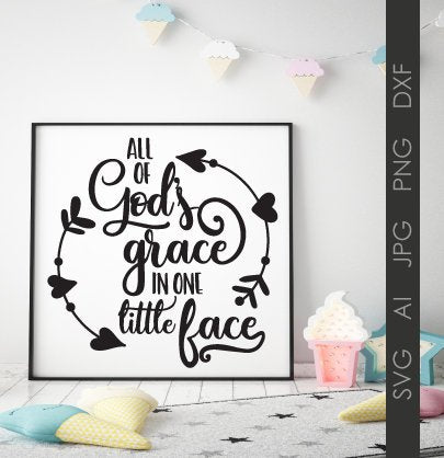 SVG Quote God's Grace Baby Saying, Clipart Quote to Print, Baby Nursery Wall Decor Printable, SVG Saying Craft Stencil Vinyl, Dxf Cricut - lasting-expressions-vinyl
