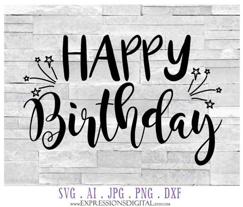 Printable Birthday Card Clipart Design, DXF Die Cut Cricut File, Digital Clipart Birthday, Happy Birthday SVG Quote, Vinyl Design Crafts - lasting-expressions-vinyl