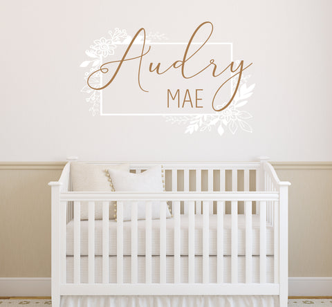 Nursery Vinyl Wall Decal Name Sticker, Custom Name Sign for Above Crib, Girls Flower Nursery Wall Art, Name Sign Girls Nursery Flower Decor - lasting-expressions-vinyl