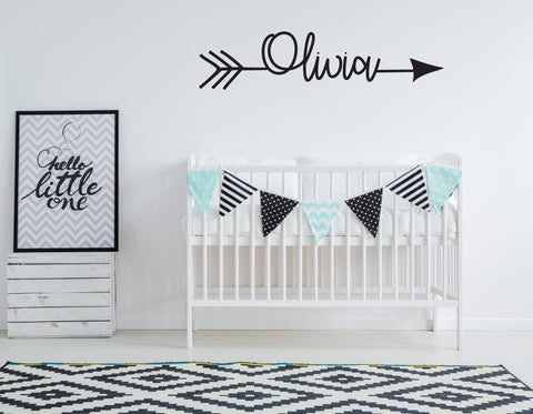 Name Arrow Vinyl Custom Nursery Wall Decal Sticker, Kid Name Above Crib Sign, Baby Shower Gift Niece, Children Custom Name Sign Boho Nursery - lasting-expressions-vinyl