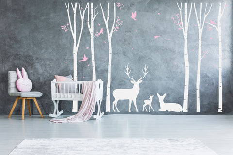 Tree Vinyl Wall Art Sticker Woodland Deer Scene - lasting-expressions-vinyl