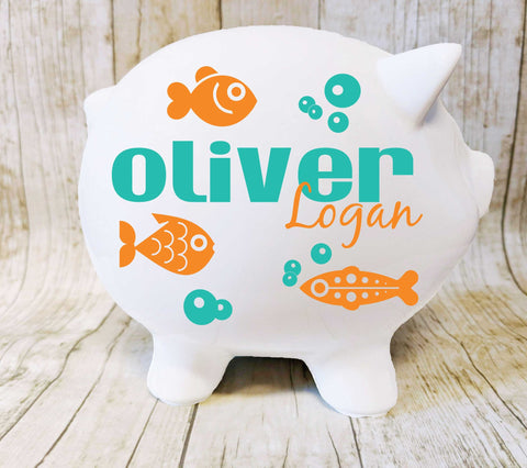 "Fish Piggy Bank with Name, Aquatic Nursery Decor, Gift for New Baby, Custom Decal, Fishing Theme Nursery, Gift Baby Boy, Ceramic Pig 8"" - lasting-expressions-vinyl"