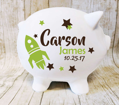 Large Piggy Bank Name and Birth date - lasting-expressions-vinyl