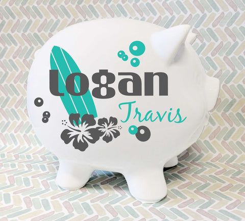 Piggy Bank Customized with Name, Surfer Baby Nursery Decor, Nautical Baby Boy Gift, Gift for Grandson, Personalized Gifts for Kids Name Sign - lasting-expressions-vinyl