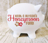 Honeymoon Fund Jar for Wedding Reception Card Table, Saving Bank for Newlywed Couple, Engagement Party Gift, Savings Bank Name, Couple Gift - lasting-expressions-vinyl
