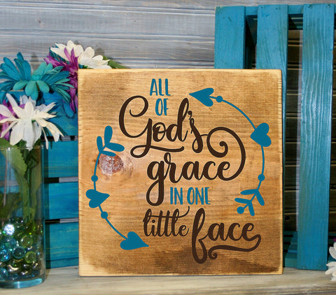 God Grace Little Face Saying Sign, Baby Nursery Wall Collage - lasting-expressions-vinyl