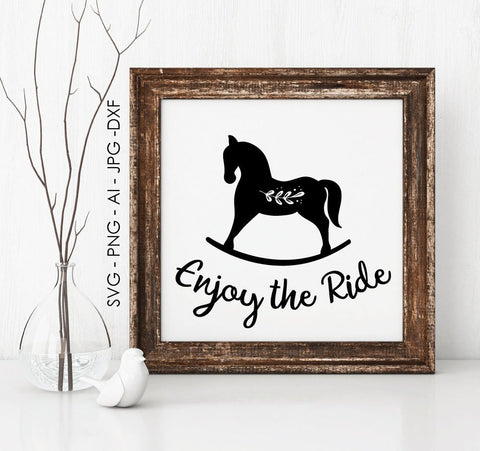 Rocking Horse Vector Clipart, Printable Nursery Artwork Cowgirl, Horse Enjoy Ride Saying to Print, Western Decor Artwork, SVG Cricut Design - lasting-expressions-vinyl