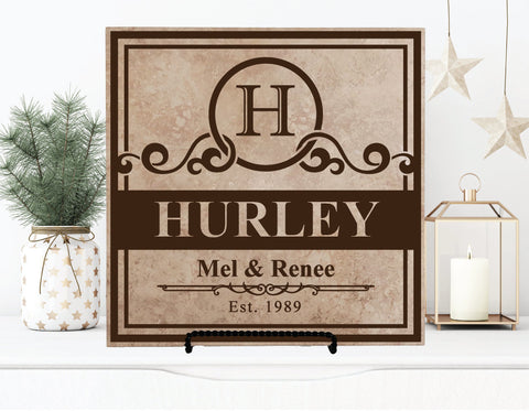 Last Name Established Sign, Realtor Closing Gift for Client, Family Name Tile Plaque, Mr and Mrs Sign, Personalized Gift, Housewarming Gift - lasting-expressions-vinyl