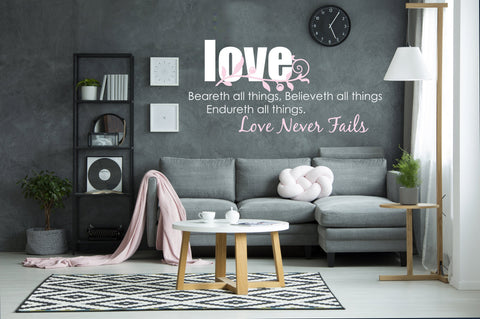 Large Vinyl Wall Art Sticker, Love Never Fails Saying for Wall Bedroom Wall Art Quote, Adhesive Lettering Wall Decor, Above Bed Decorations - lasting-expressions-vinyl